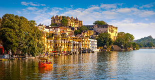 City Palace and Pichola lake in Udaipur, India. City Palace and Pichola lake in Udaipur, Rajasthan, India, Asia stock photography
