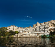 City Palace view from the lake. Udaipur, Rajasthan, India Royalty Free Stock Photography