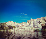 City Palace view from the lake. Udaipur, Rajasthan, India Stock Photos