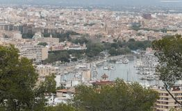 Palma de mallorca density view. The city of Palma de Mallorca view from nearby hill of Bellver. Local government will avoid touristic housing rentals in the city Stock Image