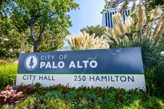 City of Palo Alto sign. September 27, 2018 Palo Alto / CA / USA - `City of Palo Alto` sign in front of the City Hall building royalty free stock photo