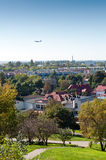 City panorama. City estate panorama with air craft, Warsaw, Poland royalty free stock photo
