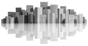 City panorama. City panorama on white background, 3d royalty free illustration