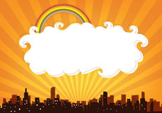 City panorama banner. Abstract illustration of the city panorama with cloud as a place for text royalty free illustration