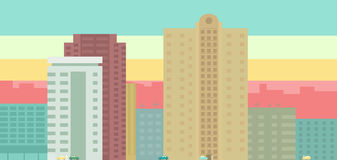 City panorama. Color building and sky, people and cars stock illustration