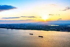 City panorama at dusk Royalty Free Stock Images