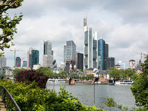 City panorama of the financial district in Frankfurt Royalty Free Stock Image