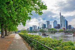 City panorama of the financial district in Frankfurt Stock Photo