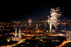 City panorama with fireworks Royalty Free Stock Images