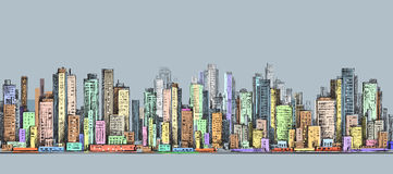 City panorama, hand drawn cityscape, vector drawing architecture illustration Stock Photos