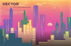 City panorama of New York in the evening. Vector background. Colorful city panorama of New York in the evening, Silhouettes of buildings, cityscape at sunset Stock Photography