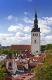 City panorama from an observation deck of Old city's roofs. Tallinn. Estonia. Royalty Free Stock Photography