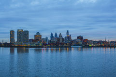 City panorama of Philadelphia. From Delaware river Royalty Free Stock Photo