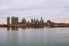 City panorama of Philadelphia. From Delaware river Stock Images