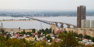City panorama on the river stock image