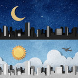 City panorama silhouettes recycled paper craft . Royalty Free Stock Photography