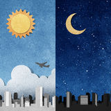 City panorama silhouettes recycled paper craft . Royalty Free Stock Images