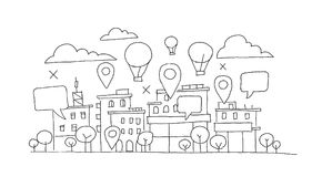 City panorama sketch. Balloon in the sky, geolocation markers and bubble. Infographic hand drawn vector stock Stock Images