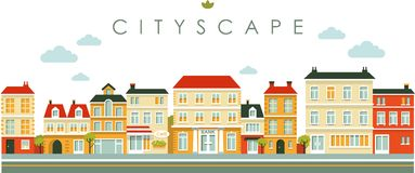 City panorama street background in flat style vector illustration