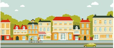 City panorama street background in flat style stock illustration
