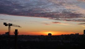 City panorama at the sunrise Royalty Free Stock Image