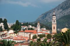 City panorama. Town of Menton, South of France Royalty Free Stock Image