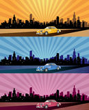 City panorama web header. Abstract illustration of the city panorama in different colours royalty free illustration