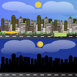 City panoramas. A horizontal view of the city day and night and riding the truck and tanker truck Royalty Free Stock Photography