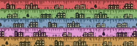 City panoramic street seamless background in flat style. Illustration with the image of the city in a modern style Stock Photos