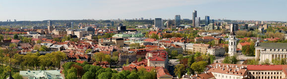 City panoramic view - old and new Vilnius. Royalty Free Stock Images