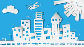 City in paper. Beautiful cartoon city in paper Royalty Free Stock Images
