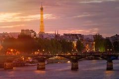 The city of Paris at sunset Stock Photos