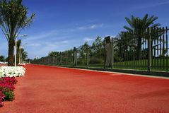 City park. A view of the perimeter fence of the city park Royalty Free Stock Photography