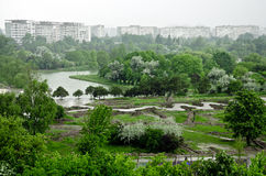 City park. An image of Titan Park located in Bucharest city taken on a rainy day Stock Images