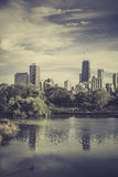 City park against Chicago Downtown skyline Stock Photography