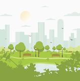 City park against high-rise buildings. Landscape with trees, bushes, lake, birds, lanterns and benches. Colorful vector. Square illustration in flat cartoon royalty free illustration