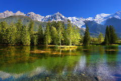 City park in the Alpine resort of Chamonix Royalty Free Stock Photo