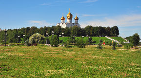 City park and Assumption cathedral Royalty Free Stock Photo
