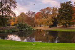 City park in autumn colors Royalty Free Stock Photography