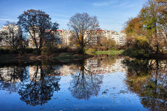 City Park in Autumn with Reflection on Water Stock Photography