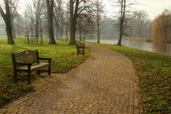 City park in autumn. City park with the river in autumn, central Europe Royalty Free Stock Image
