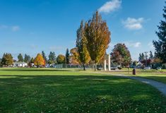 City Park In Autumn 2. A view of a park in Burien, Washington in Autumn stock photography