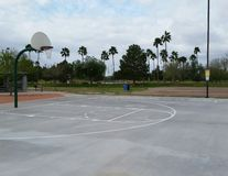 City park basketball court. Basketball court at a city park stock photography