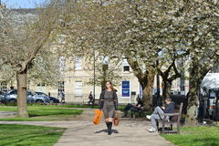 City Park. Bath, UK - May 3, 2016: People gather in Queen Square public park. The Somerset city has Unesco World Heritage status and receives over 4 million royalty free stock photos