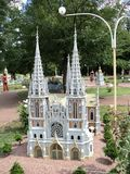 Layout of the church building at the exhibition of cues in miniature. City park beauty summer layout of the church building at the exhibition of cues in royalty free stock image