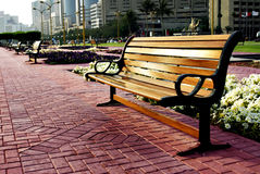 City park bench. A view of a city park bench Royalty Free Stock Images