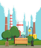 City park bench near air polluting factory pipes. City park bench and trees near air polluting factory pipes. Modern flat style vector illustration Stock Images