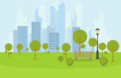 City park bench. City park wooden bench, lawn and trees. Flat style illustration. On background business city center with skyscrapers and large buildings. Green Stock Photo