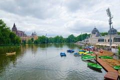 City Park Boating Lake in Budapest, Hungary. BUDAPEST, HUNGARY - JUNE 12, 2016: View of the City Park Boating Lake in Budapest, Hungary, with the Vajdahunyad Royalty Free Stock Photos