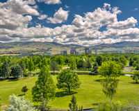 City park in Boise Idaho with the city and mountains Stock Photos